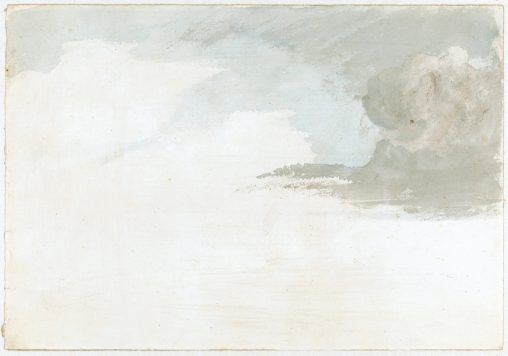 Cloud study by Luke Howard, c1803-1811: Cumulus and developing nimbus, preparatory to rain. Blue and grey wash with white, 19x27cm (recto); Cumulus developing cirrus. Grey wash (verso) Part of a collection of 51 drawings with 1 engraving, studies of clouds c1803-1811, by the meteorologist Luke Howard FRS (1772-1864).  Mainly pencil and wash, 19x28cm. or smaller with conservation paper backs or edging.  - Collection assembled in 1923 by Howard's granddaughter Mariabella Fry from 'loose scraps among family papers, without note or comment' and subsequently deposited by the Royal Meteorological Society. - Some sketches are inscribed, only two dated. Showing observations of cloud formations while adopting the nomenclature presented in Howard's paper 'On the modifications of clouds' 1803.  Six drawings have highly finished landscapes probably by an assistant, Silvanus Bevan. Some are originals for engravings of cloud formations in editions of the classification promulgated in Philosophical Magazine 1803, Rees's Cyclopedia and other, later publications. For specific details of each drawing please see 1981-862/1 to 1981-862/52.