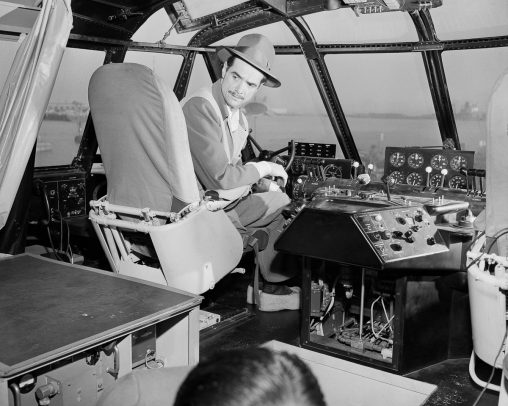 01 Nov 1947, San Pedro, Los Angeles, California, USA --- Howard Hughes makes preparations for the historic flight of the Spruce Goose. --- Image by © Bettmann/CORBIS